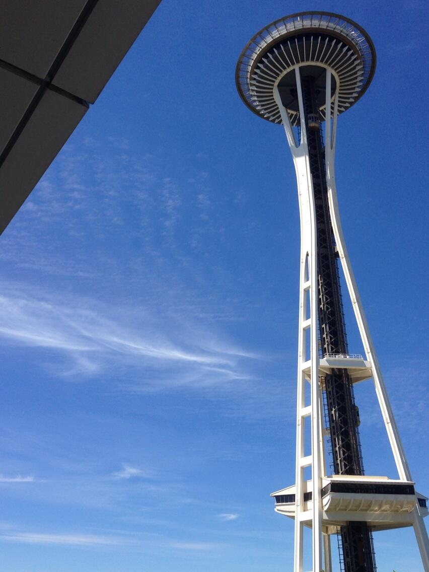 Cirrus clouds float near the Space Needle on July 1, 2014.