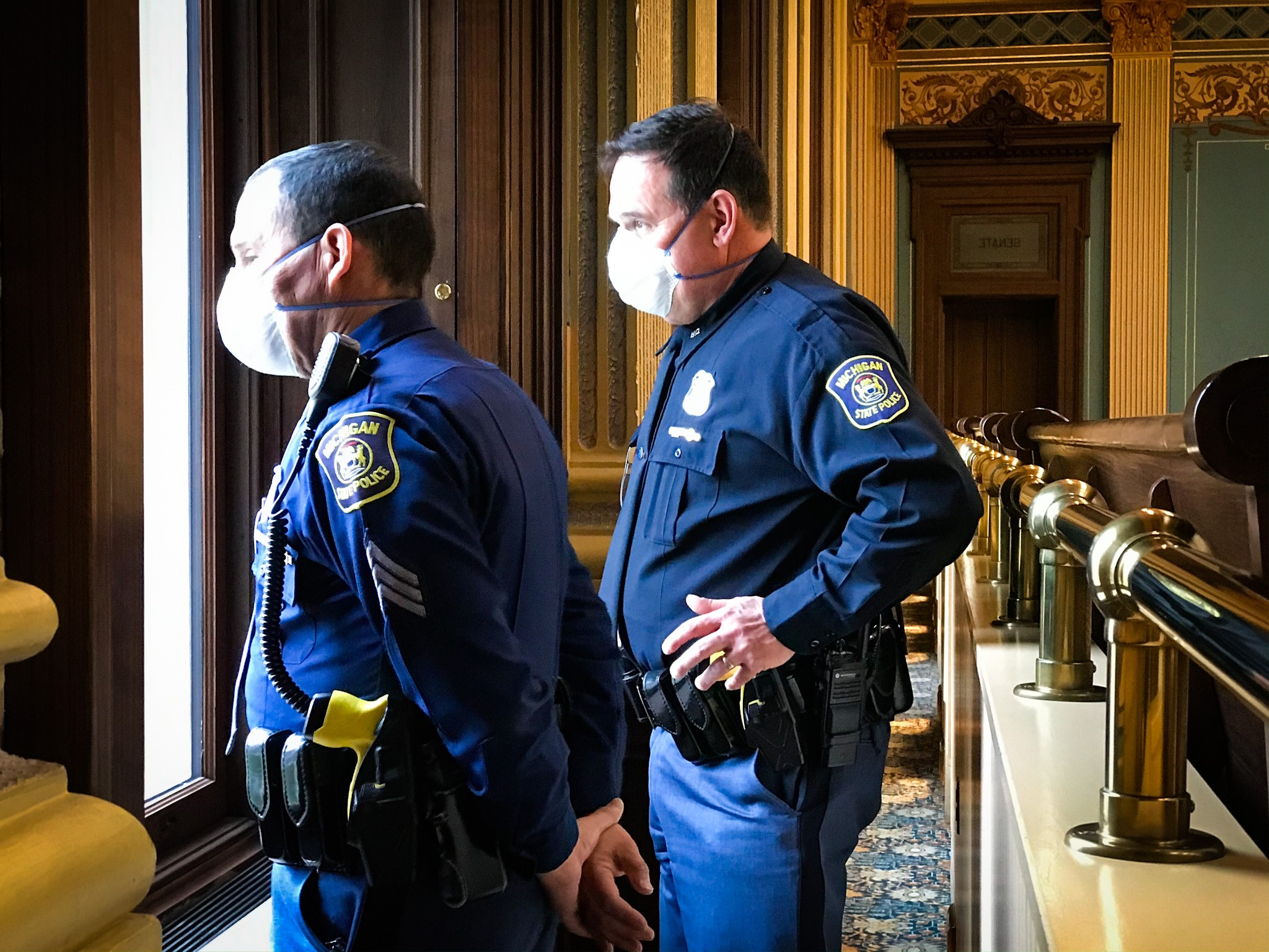 State troopers wear masks during the legislative session{ }at the Michigan Capitol on Tuesday, April 7, 2020. (SBG/Mikenzie Frost)