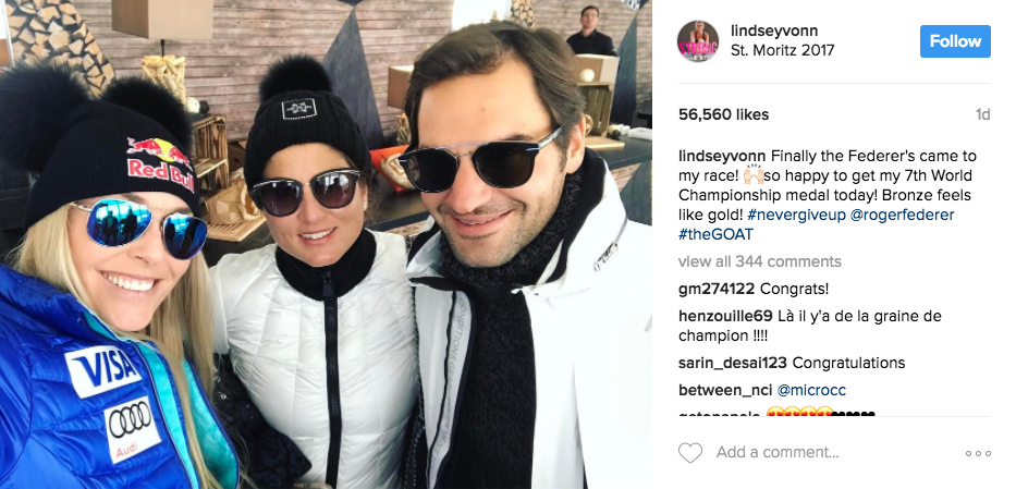 U.S. ski star Lindsey Vonn posted a photo on Instagram with Roger and Mirka Federer who watched her win a bronze medal Sunday at the 2017 FIS Alpine World Ski Championships in St. Moritz, Switzerland.