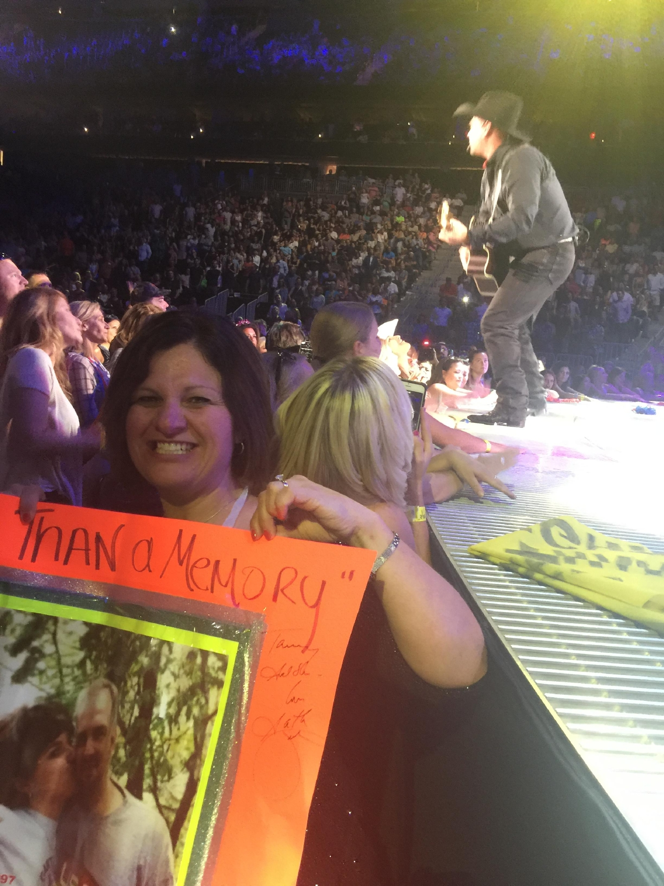 Front and Center. Tammy Roach from Kentucky says Las Vegas has a special place in her heart because Garth Brooks made her night! He stopped his concert to sign a special photo and gave her a shout out at the T-Mobile Arena. 6/27/2016 [Photo Courtesy: Tammy Roach]