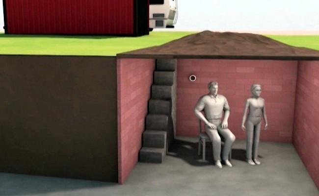 Graphic model of Jimmy Lee Dyke's underground bunker in Midland City where he is hold a young boy hostage.