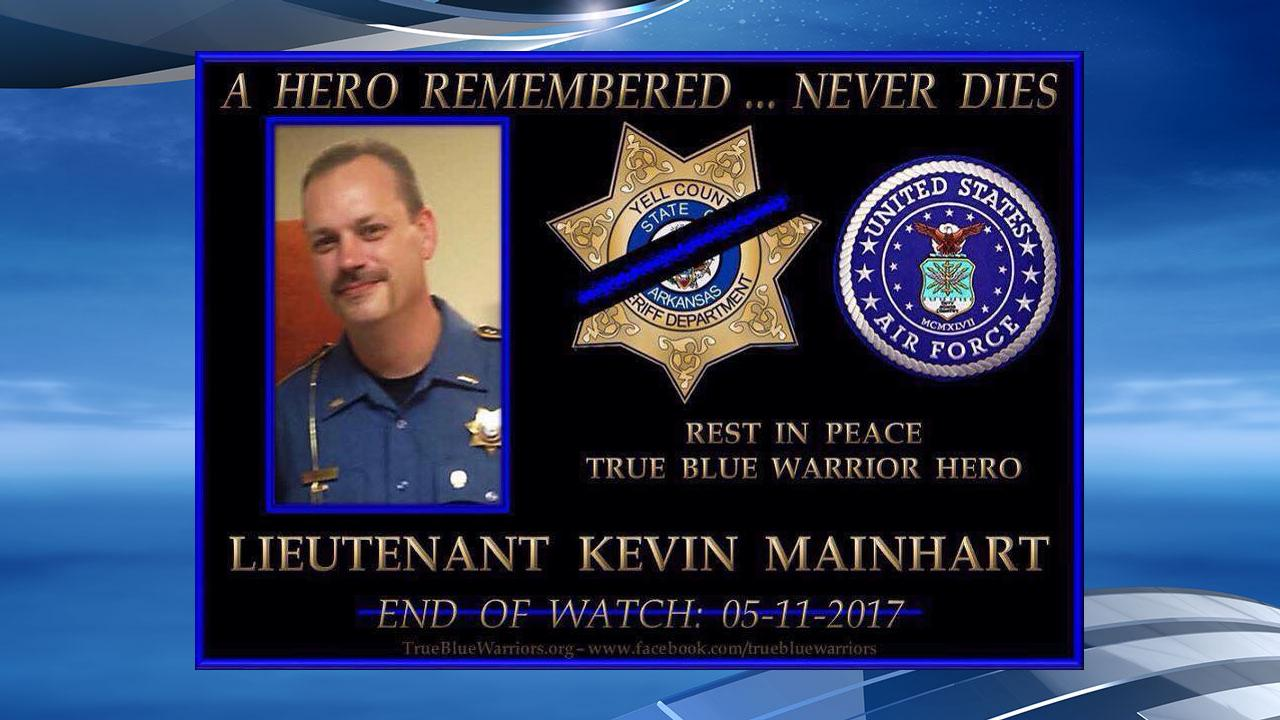 Funeral for Lt. Kevin Mainhart, killed in the line of duty, is being held Monday. (Graphic courtesy Yell County Sheriff's Department)