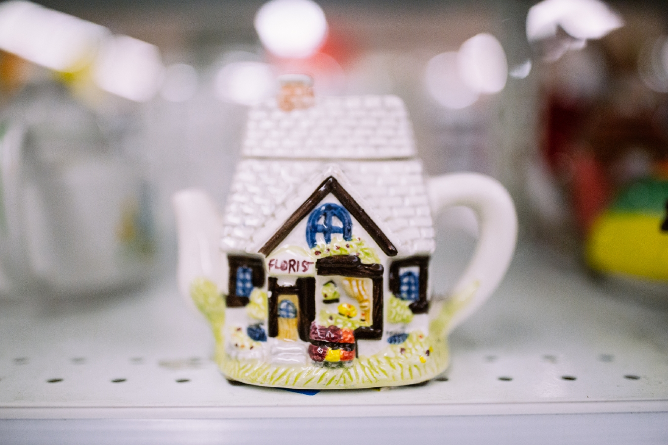 Themed tea pot. $1.99  Are you going to a White Elephant Gift Exchange this year? We headed to our local Value Village to give you some gift ideas and how much they cost. (Image: Joshua Lewis / Seattle Refined)