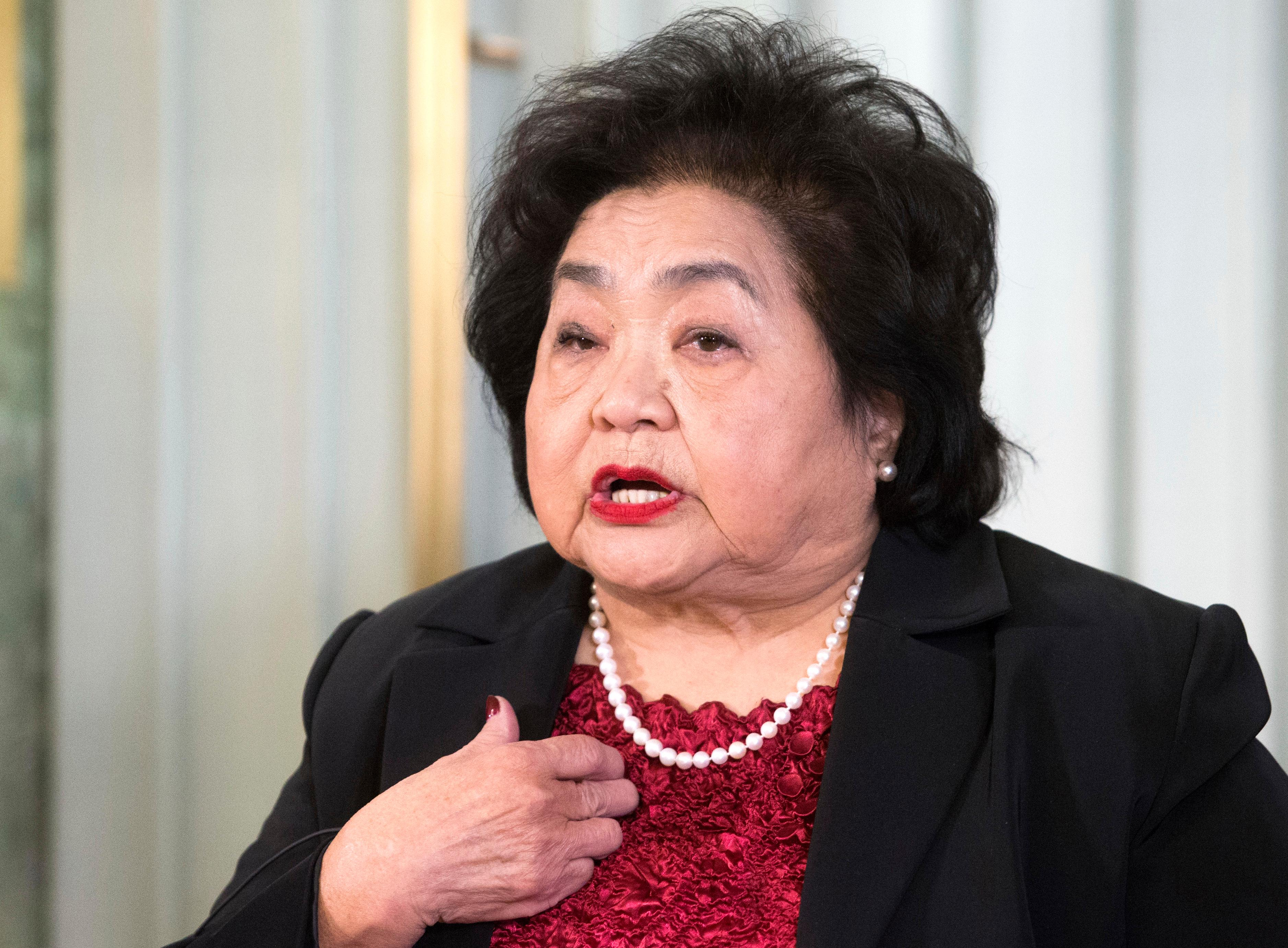 CAPTION CORRECTS THE DAY  ICAN campaigner and Hiroshima survivor, Setsuko Thurlow speaks during a press conference with ICAN (International Campaign to Abolish Nuclear Weapons), In Oslo, Norway, Saturday, Dec. 9, 2017.  ICAN are set to receive the Nobel Peace Prize on Sunday.  (Audun Braastad/NTB scanpix via AP)