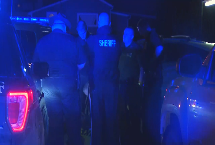 Multiple police officers gather after a male suspect is taken into custody in Montgomery. (WCHS/WVAH)<p></p>