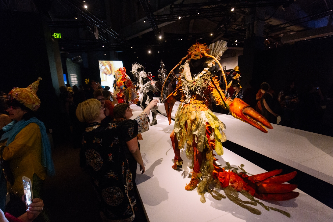 "Art and fashion fans came out for EMP's Opening Night Party for the new exhibit, ""World of WearableArt"". The opening night party included ariel performances, wearable art shown on live models and more. It was the first chance for the public to see the exhibit, which is open until January 3rd 2017. (Image: Joshua Lewis / Seattle Refined)"