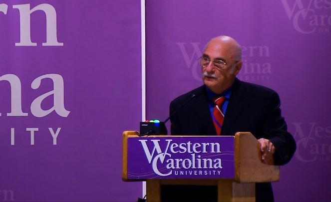 A debate between incumbent Mark Meadows and challenger Rick Bryson (pictured) takes place in room 204 in the Health & Human Sciences Building on the WCU campus on Sept. 23, 2016. (Photo credit: WLOS staff)