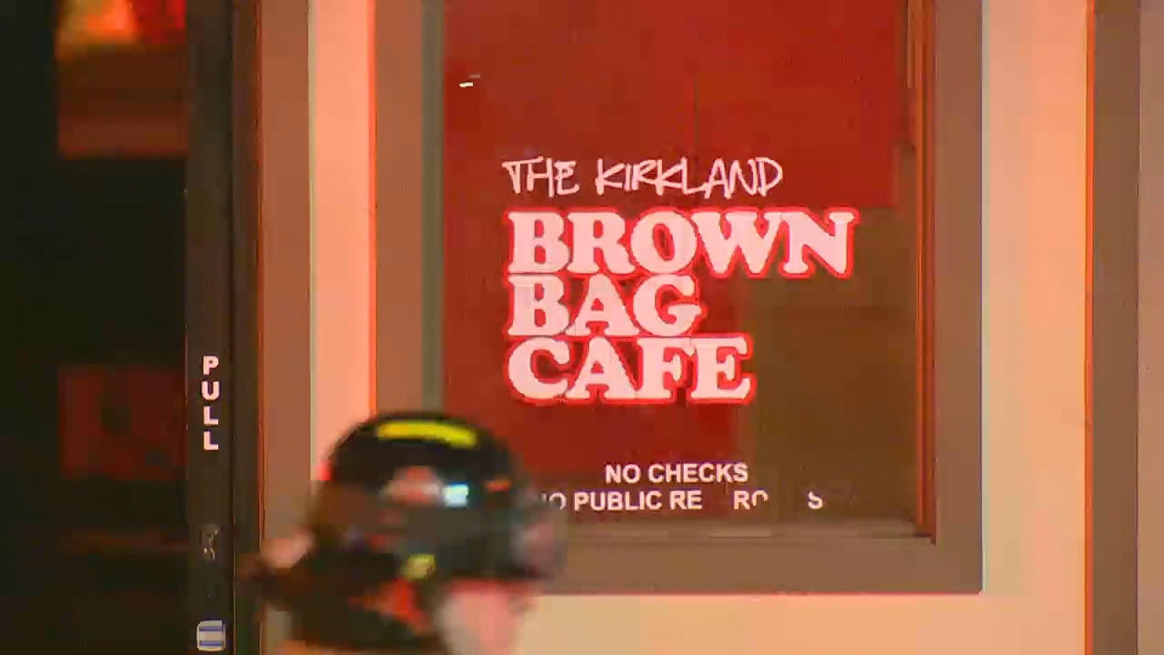 A two-alarm fire caused significant damage Saturday night to the Brown Bag Cafe in Kirkland. (Photo: KOMO News)