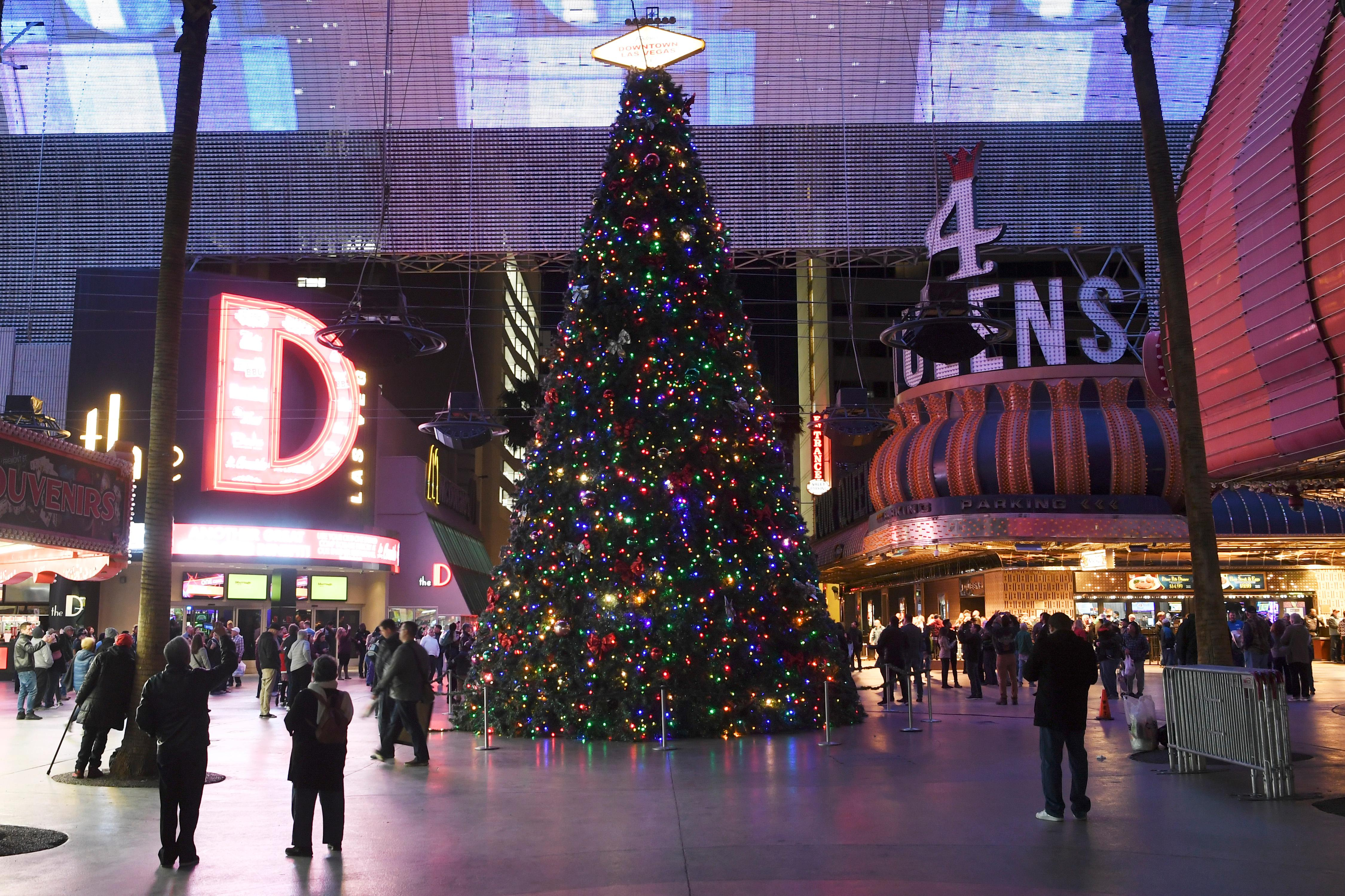 The Fremont Street Experience Christmas tree is seen freshly lit during the annual lighting Tuesday, December 4, 2018. CREDIT: Sam Morris/Las Vegas News Bureau