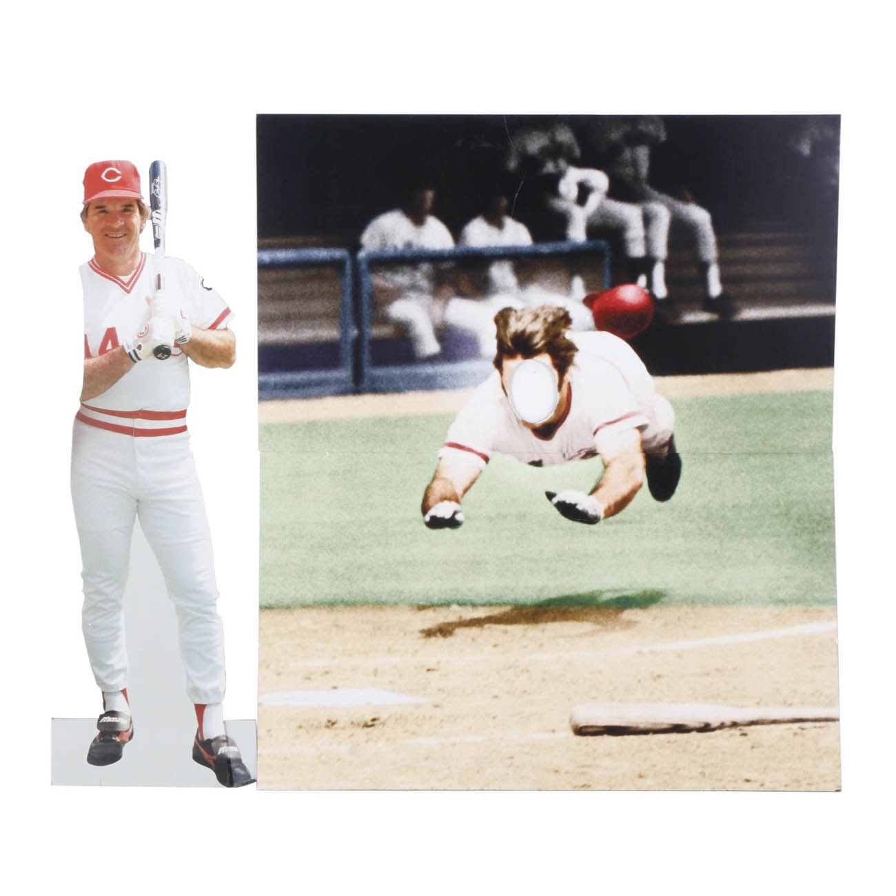 This two-piece photo-op display comes with a cut out of Pete Rose, as well as a display showing a head-first slide from Pete with his face cut out. This allows people to stand behind it with their face in the cut-out to look like they're sliding into home, too. / Image courtesy of Everything But The House (EBTH) // Published: 12.6.18