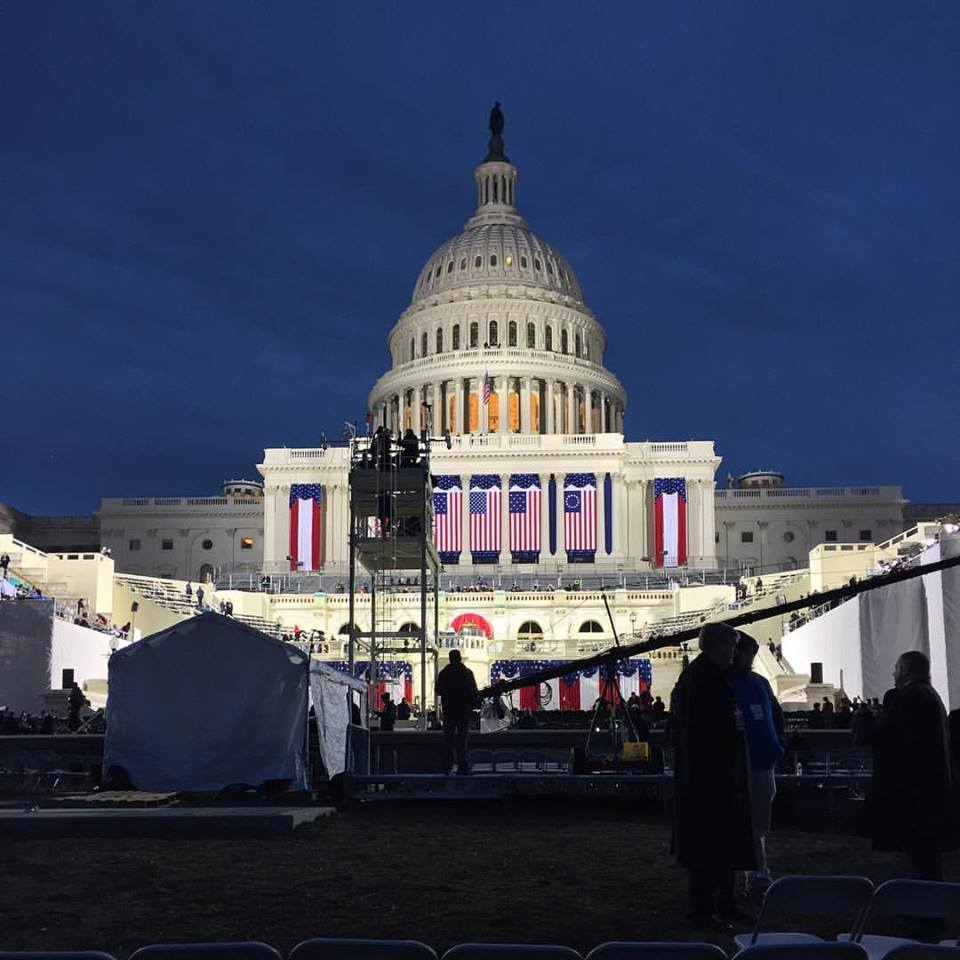 The capitol building before sunrise on Inauguration morning. (Amanda Andrade-Rhoades/ DC Refined)