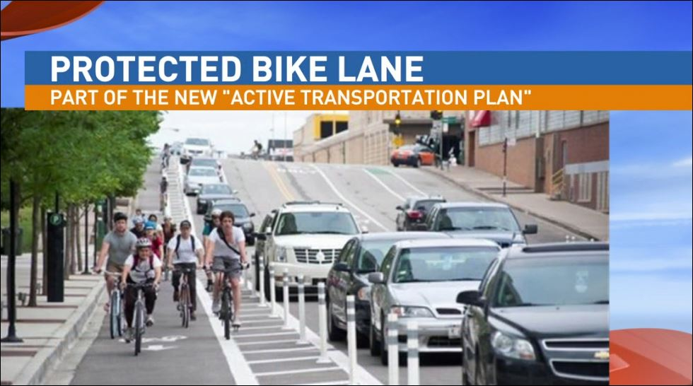"Part of the ""Active Transportation Plan"" is to create protected bike lanes"