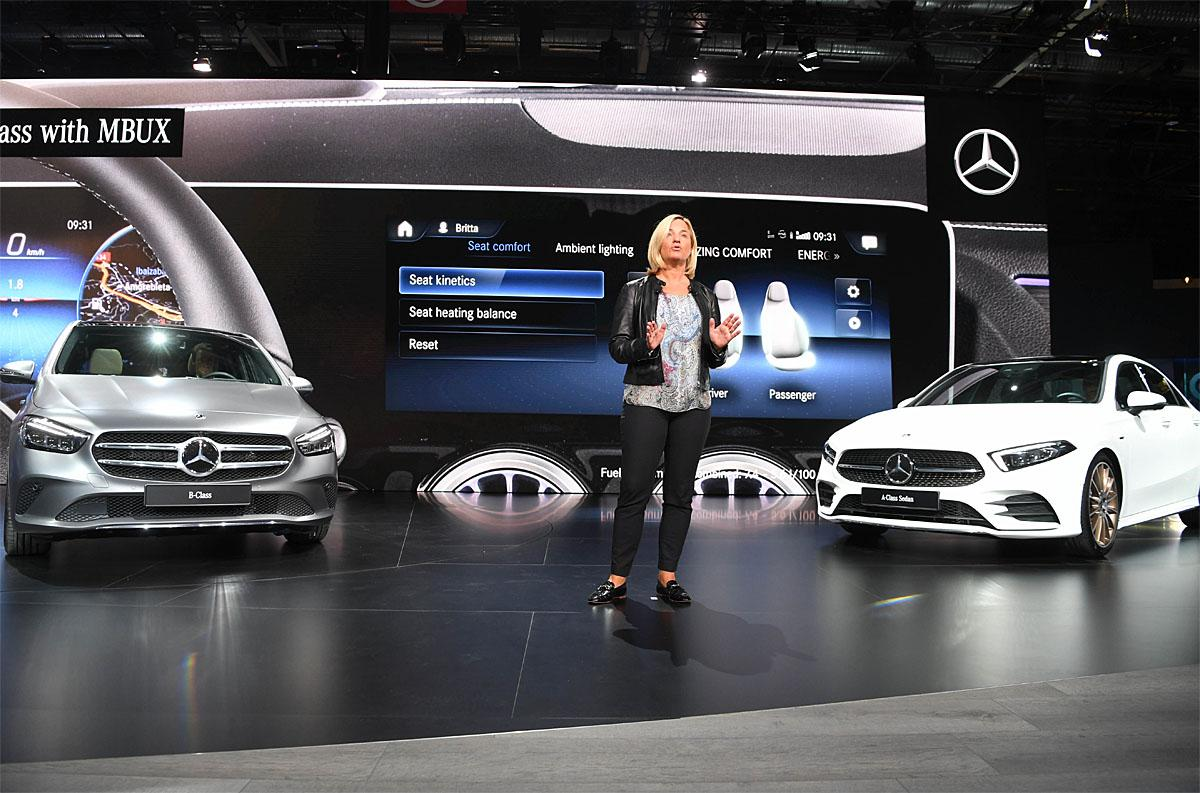 02 October 2018, France, Paris: Britta Seeger, Member of the Board of Management of Daimler AG, responsible for Mercedes-Benz Cars Sales, will present the new Mercedes-Benz B-Class (l) and the new Mercedes-Benz A-Class sedan at the Paris International Motor Show on the 1st press day. From 02.10. to 03.10.2018, the Paris Motor Show will initially host the press days. It will then be open to the public from 04.10. to 14. October. Photo: Uli Deck/dpaWhere: Paris, Île-de-France, FranceWhen: 02 Oct 2018Credit: Uli Deck/picture-alliance/Cover Images