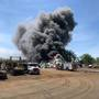 Massive fire burning at Metalico Rochester in Chili