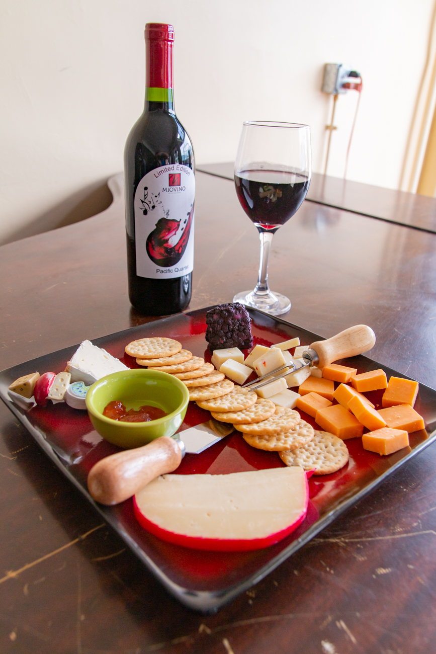 The cheese and crackers plate with their Pacific Quartet red blend / Image: Elizabeth A. Lowry{ }// Published: 9.30.20