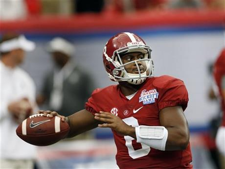 Alabama quarterback Blake Sims (6) warms up before an NCAA college football game against West Virginia Saturday, Aug. 30, 2014, in Atlanta.