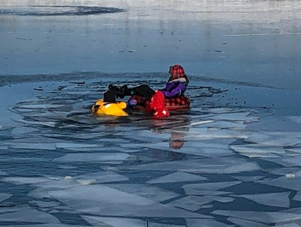 Communications officials say emergency crews were called to the scene around 1 p.m. Thursday where the child was in an inner-tube on a private pond in the 5000 block of New London Road when the ice broke (Forest Fire Dept.)