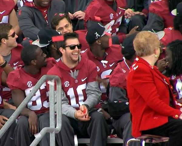 Alabama quarterback AJ McCarron laughs with teammates during the BCS National Championship celebration on Saturday, January 19, 2013.