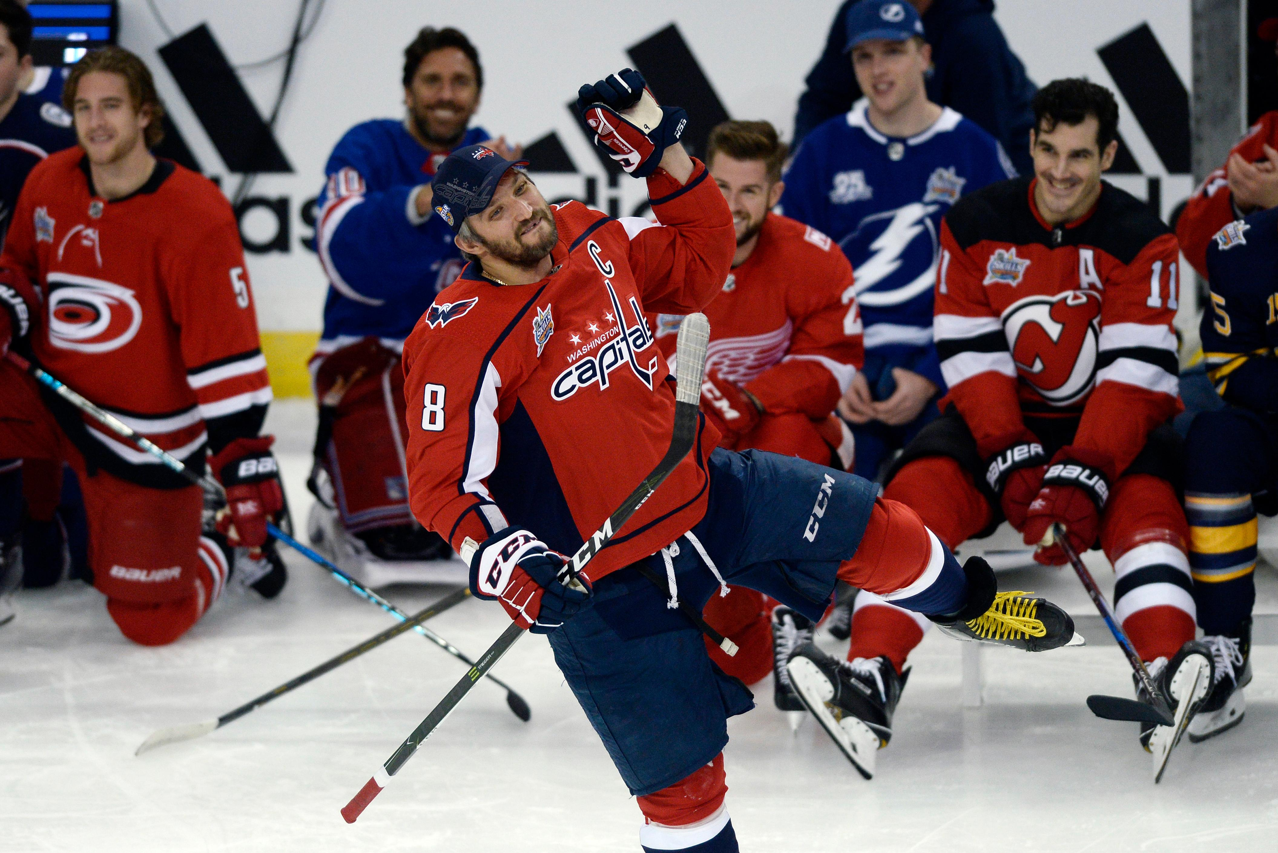 Washington Capitals forward Alexander Ovechkin reacts after winning the hardest shot during the Skills Competition, part of the NHL All-Star Game weekend, Saturday, Jan. 27, 2018, in Tampa, Fla. (AP Photo/Jason Behnken)