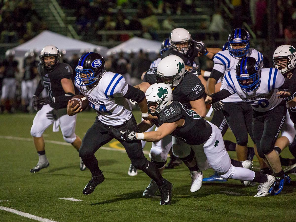 South Medford Panther Jaylin Parnell (#24) breaks free of Sheldon's defense. The South Medford Panthers defeated the Sheldon Irish 31 – 14 at Sheldon High School on Friday, October 20. Photo by Kit MacAvoy, Oregon News Lab