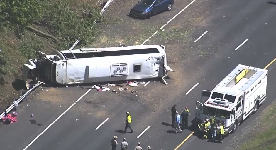 A commuter bus overturned on I-95 southbound near exit 89 (MD-155) on Monday morning.