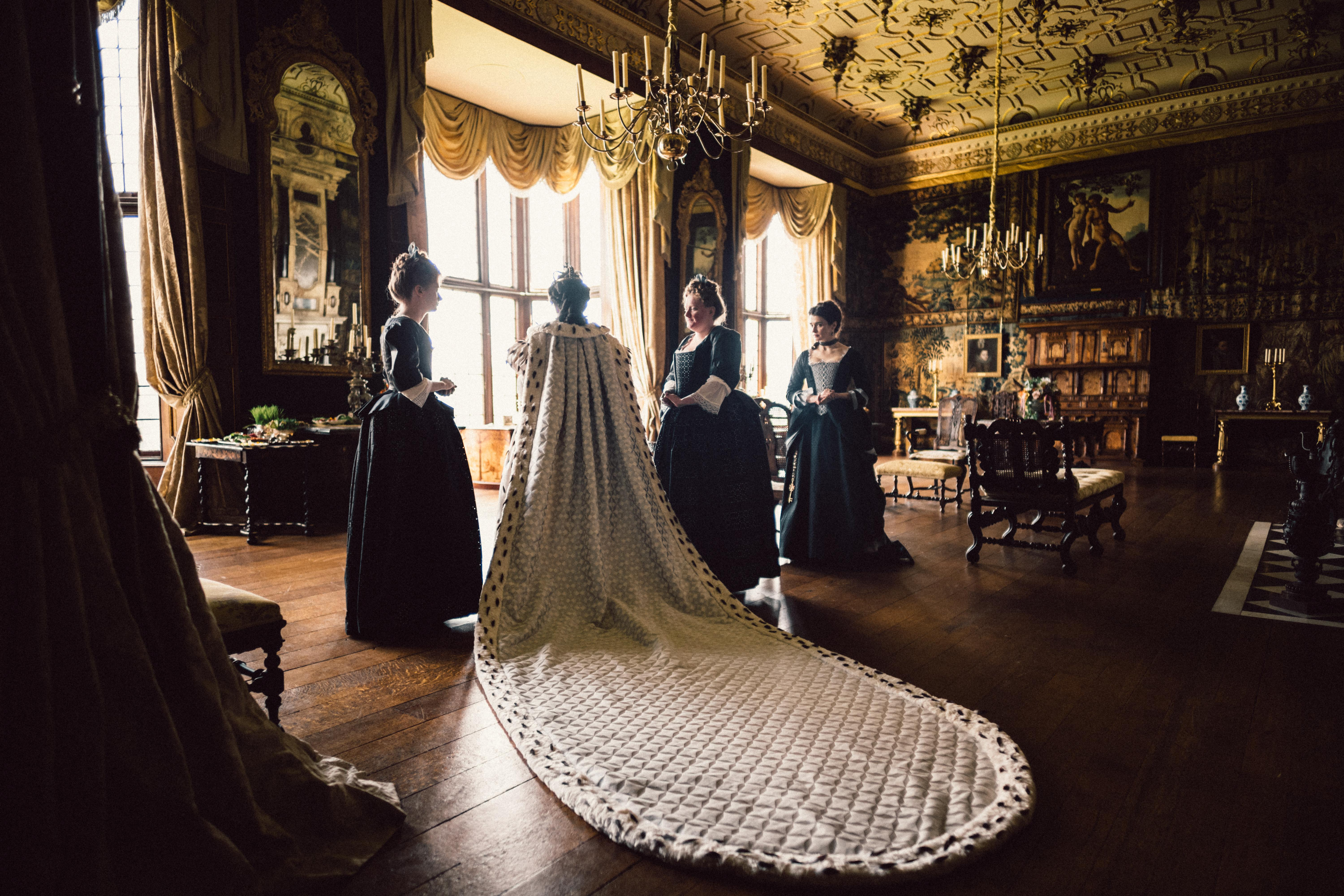Olivia Colman and Rachel Weisz in the film THE FAVOURITE. Photo by Yorgos Lanthimos.{ }© 2018 Twentieth Century Fox Film Corporation All Rights Reserved