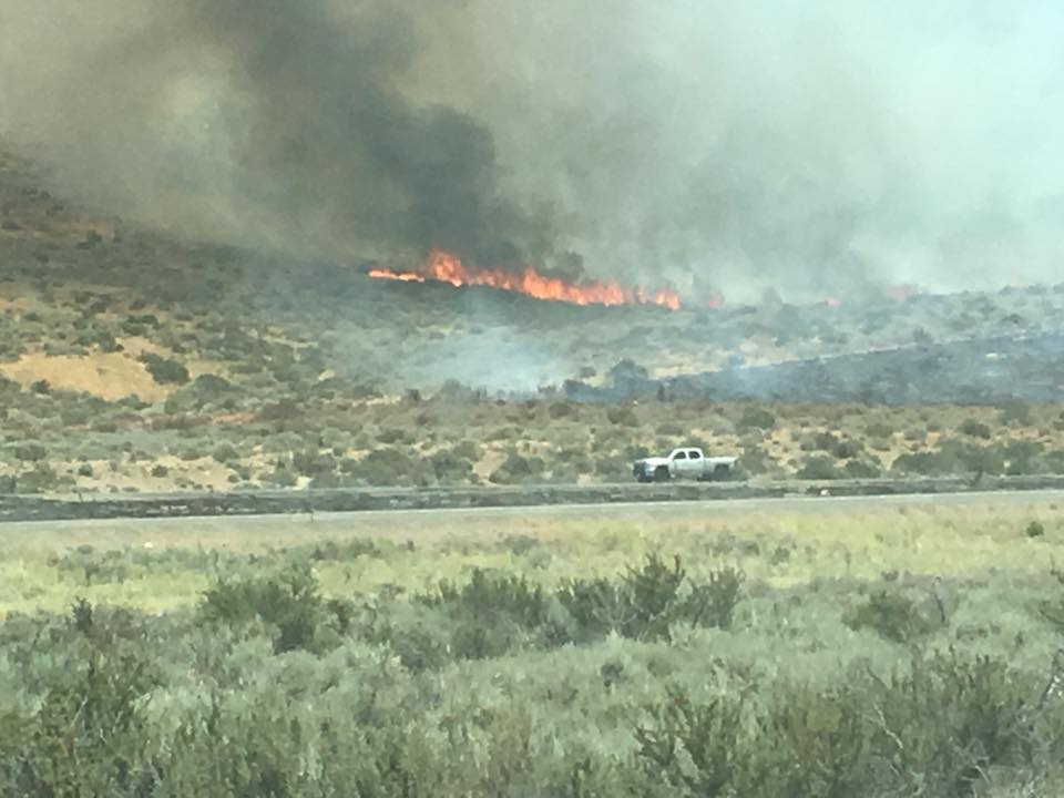 Brush fire along Hwy. 395 near Cold Springs prompts evacuations (Courtesy: Kellie Jenkins)