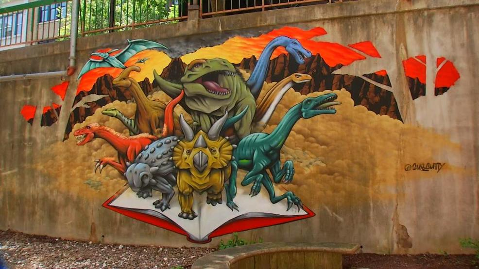 Dinosaur Mural At Pack Memorial Library Completed Wlos