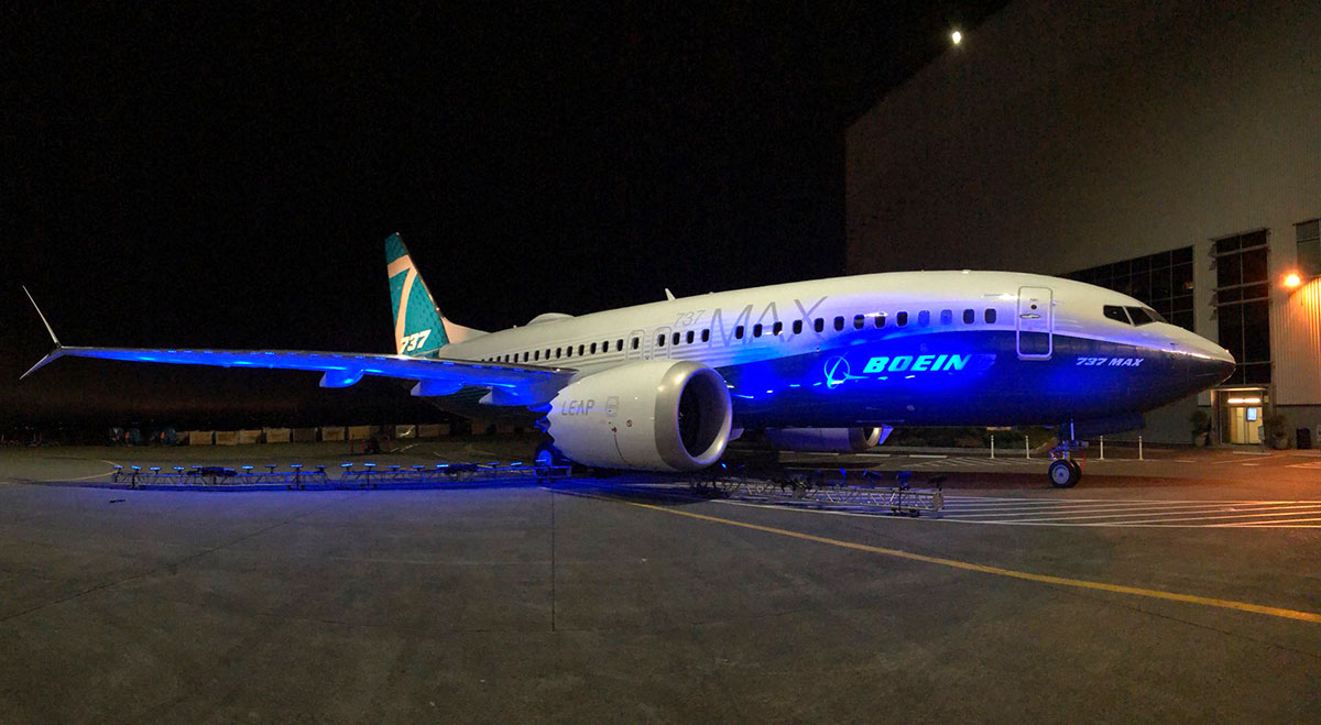 The first Boeing 737 MAX 7 rolls off the assembly line. (Boeing Co. photo)<p></p>