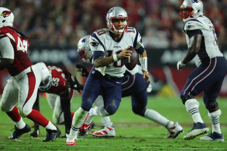 Tom Brady's backup, Jimmy Garoppolo led the Patriots to a 23-21 victory against the Arizona Cardinals in the season opener, also his first career start. He compiled a 113.3 passer rating before he was sidelined by an injury in his second start. (Photo courtesy New England Patriots/David Silverman)