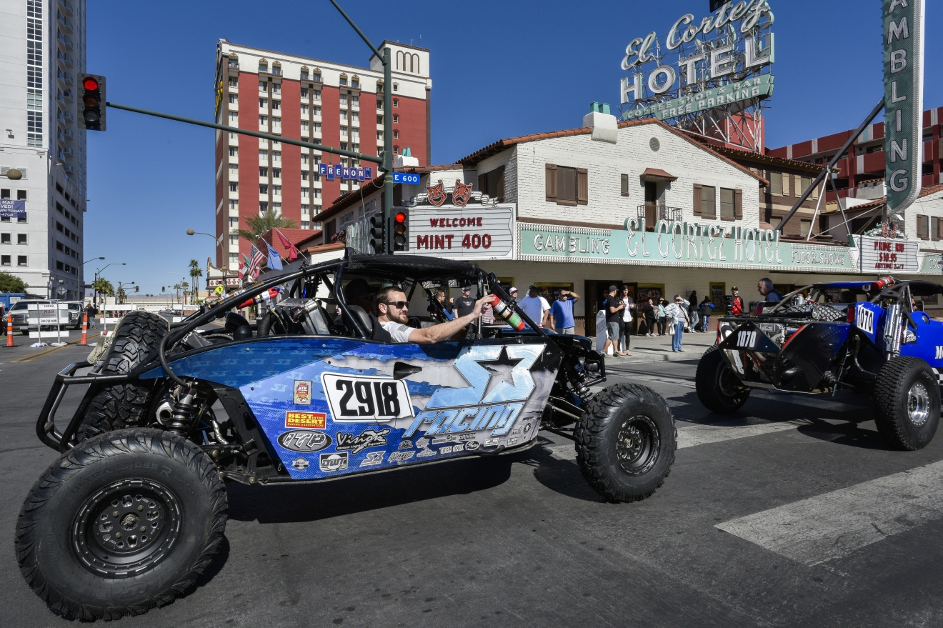 The Mint 400 4 Wheel Parts Vehicle Procession powered by Odyssey Battery cruises Fremont Street East to kick off the Mint 400 off-road race weekend on Wednesday, Mar. 1, 2017. [Mark Damon/Las Vegas News Bureau]