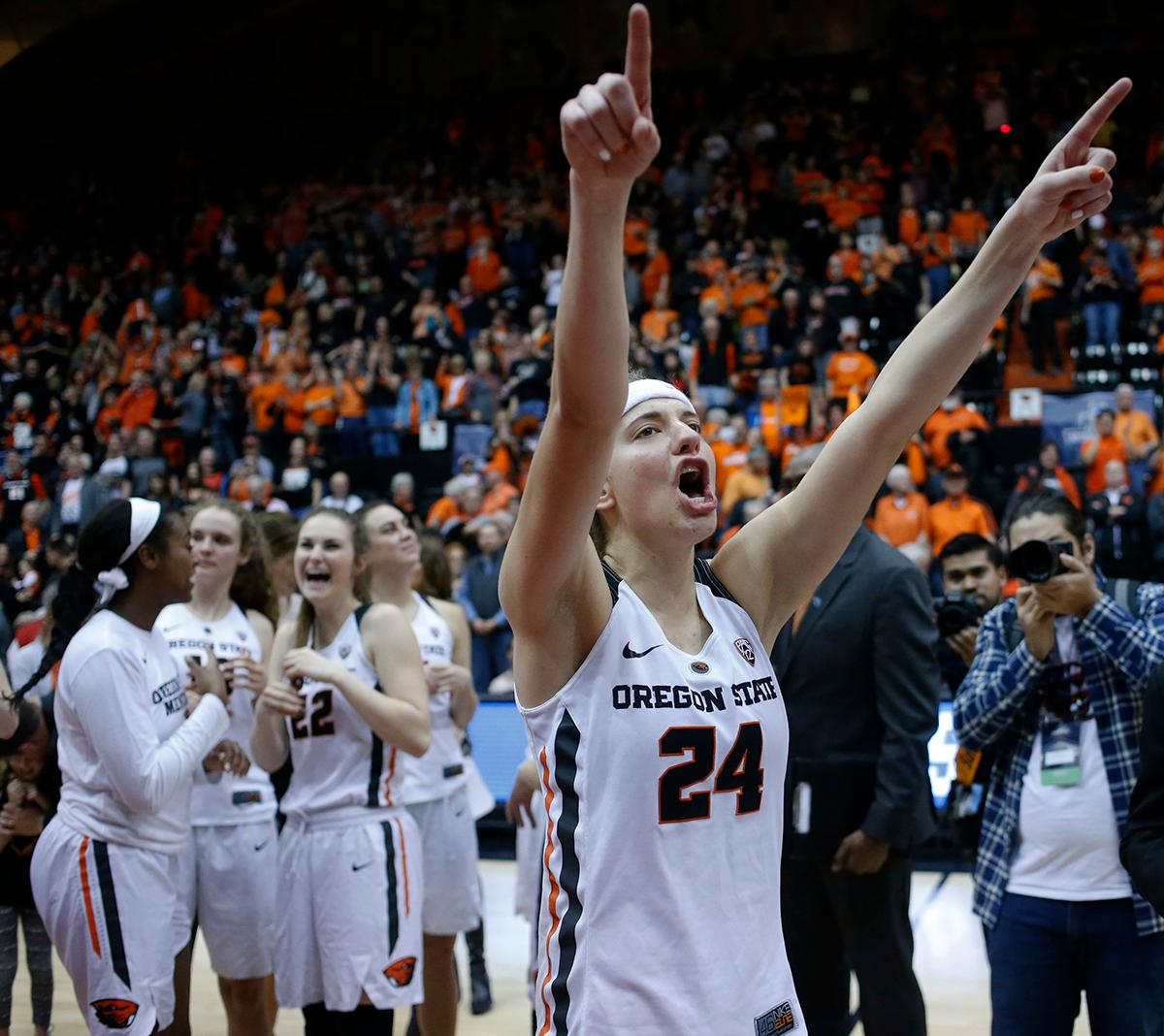 Oregon State's Sydney Wiese thanks fans after Oregon State defeated Creighton 64-52 in a second-round game in the NCAA women's college basketball tournament Sunday, March 19, 2017, in Corvallis, Ore. The game is Wiese's last in Gill Coliseum. (AP Photo/Timothy J. Gonzalez)