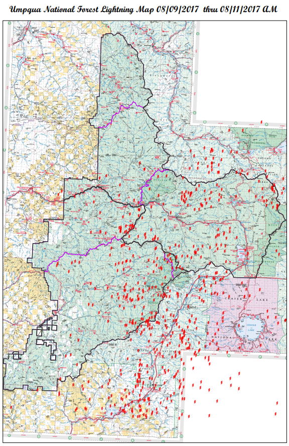 Umpqua National Forest Lightning Map