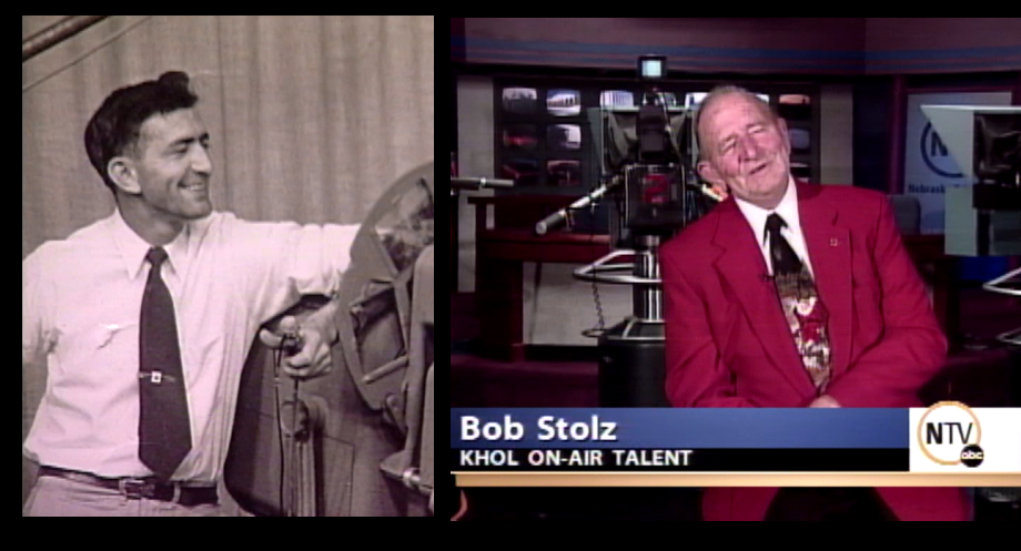 BOB STOLZ A man of many &quot;firsts,&quot; a true television pioneer. Bob was the first cameraman at KHOL. He generated hours of original content for the station and also a legendary prankster behind the scenes. Bob currently lives in Holdrege. Pictured in 1954 and 2004<p></p>