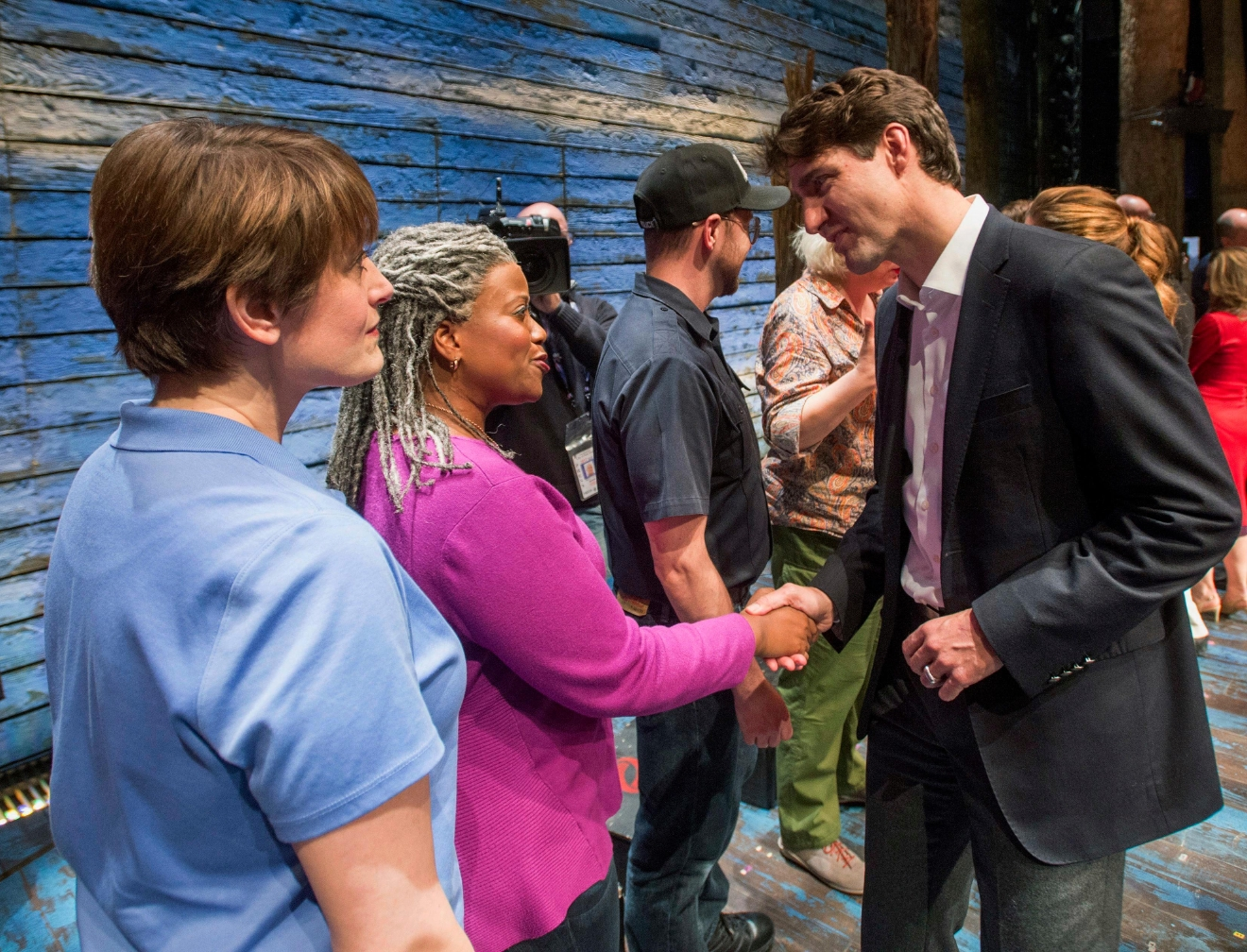 "Canadian Prime Minister Justin Trudeau greets the cast of the Broadway musical ""Come From Away,"" in New York on Wednesday, March 15, 2017. Trudeau, along with first daughter Ivanka Trump, have welcomed a new musical that celebrates Canadian compassion following 9/11. (Ryan Remiorz/The Canadian Press via AP)"
