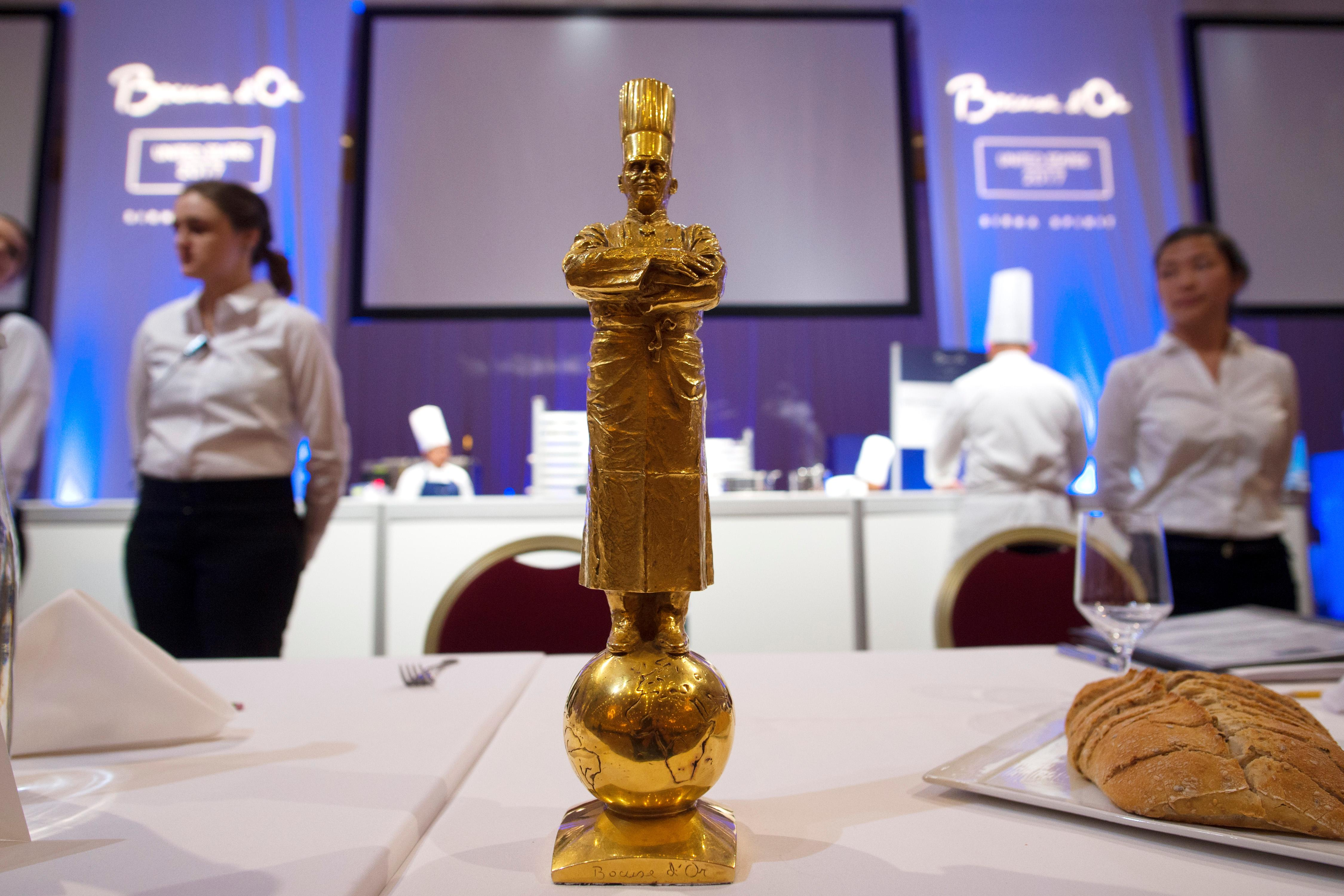 The Bocuse d'Or statue, won for the first time by a United States team in 2017, is seen during the Team USA National Selection for the 2019 Bocuse d'Or competition Thursday, November 9, 2017 at the Venetian. The biennial Bocuse d'Or, named for founder, legendary chef Paul Bocuse, is considered to be the culinary equivalent of the Olympics and is regarded as the most prestigious award for chefs in the world. CREDIT: Sam Morris/Las Vegas News Bureau