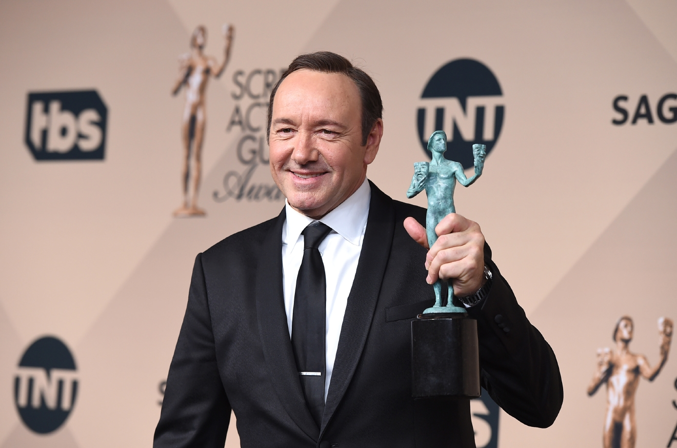 Kevin Spacey poses in the press room with the award for outstanding male actor in a drama series for ?House of Cards? at the 22nd annual Screen Actors Guild Awards at the Shrine Auditorium & Expo Hall on Saturday, Jan. 30, 2016, in Los Angeles. (Photo by Jordan Strauss/Invision/AP)