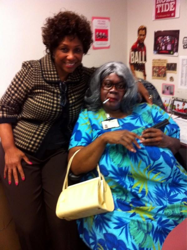 Alabama Senator Linda Coleman with City of Birmingham employee dressed as Madea