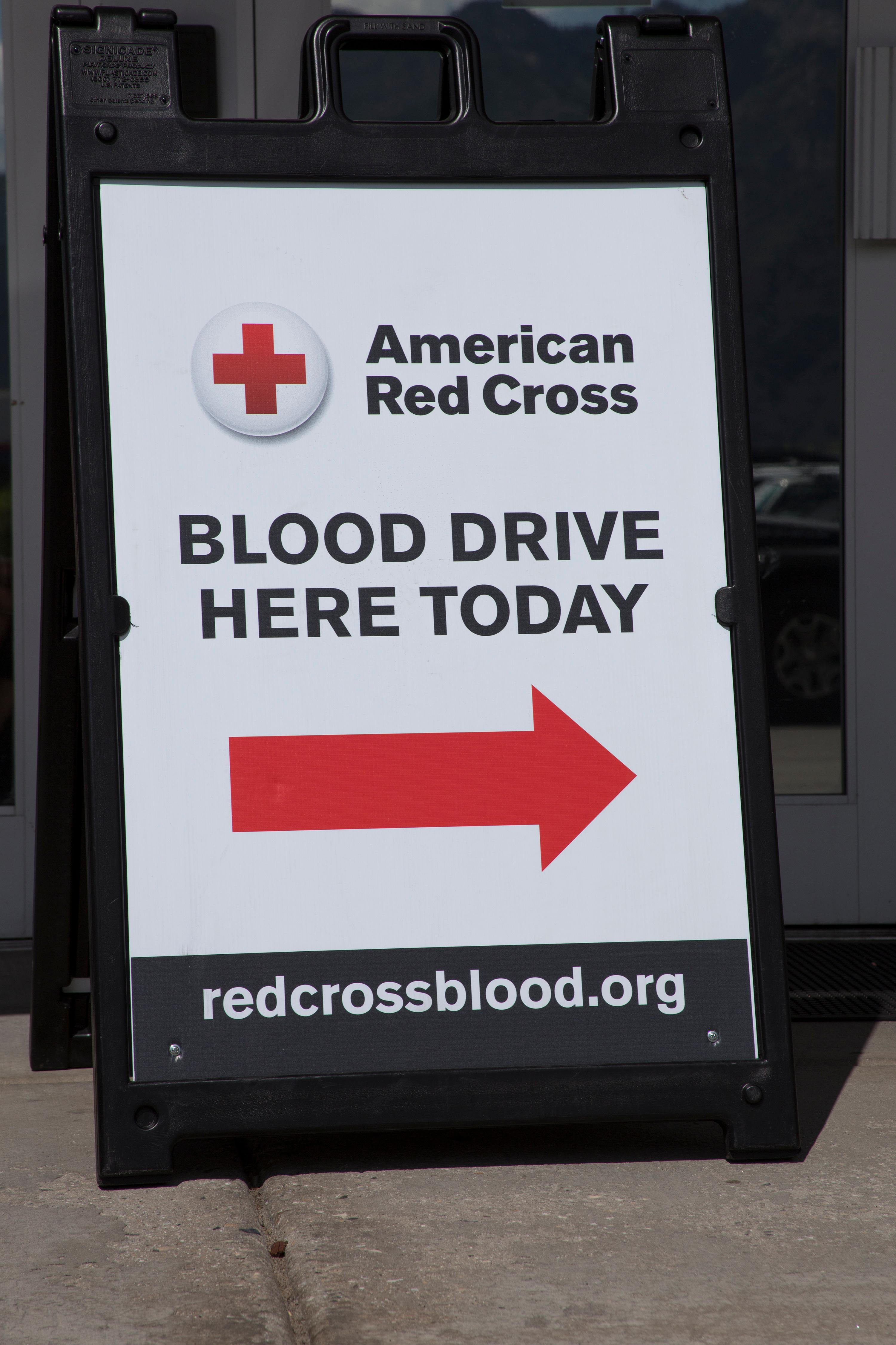 July 23, 2015. Salt Lake Donor Center, Salt Lake City, Utah. Blood Drive Today sign. Photo by Amanda Romney/American Red Cross
