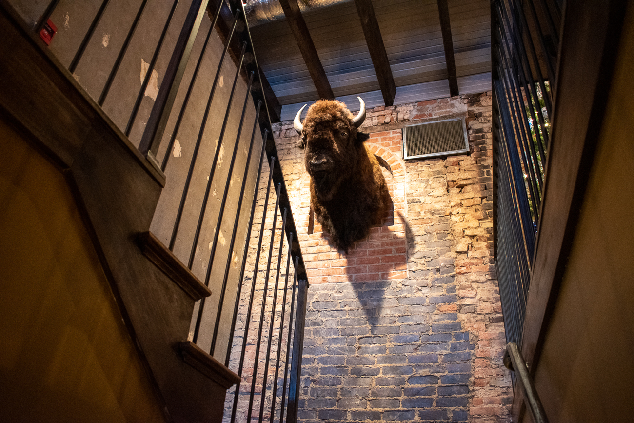It'll be no question that you're in Kentucky's Buffalo Trace region with this large friend greeting patrons heading up to the second floor of the restaurant. / Image: Matt Groves // Published: 2.23.20