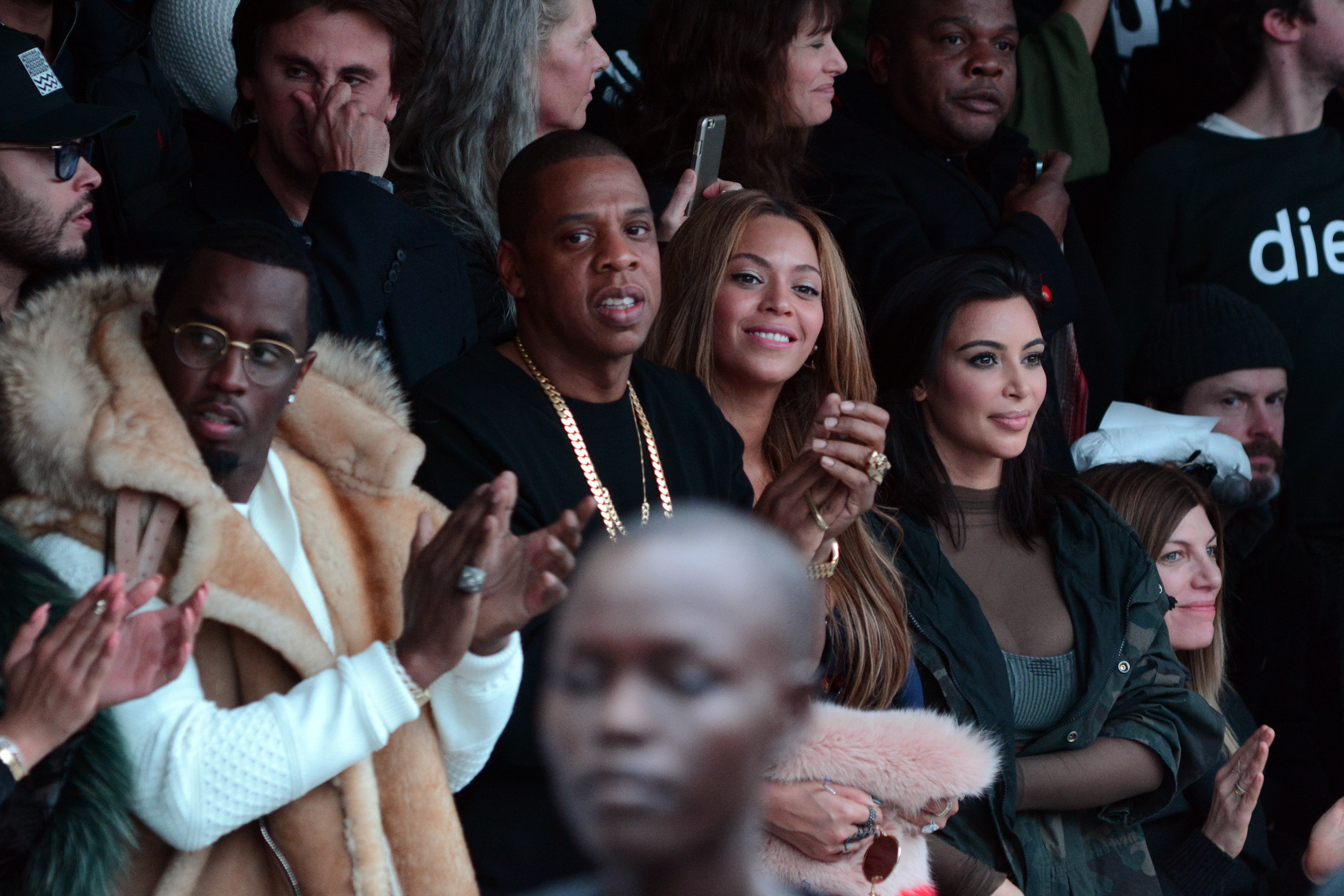 Mercedes Benz Fashion Week - Kanye West and Adidas Originals  - Inside  Featuring: Sean 'Diddy' Combs, Jay-Z, Beyonce, Kim Kardashian Where: New York City, New York, United States When: 12 Feb 2015 Credit: Ivan Nikolov/WENN.com