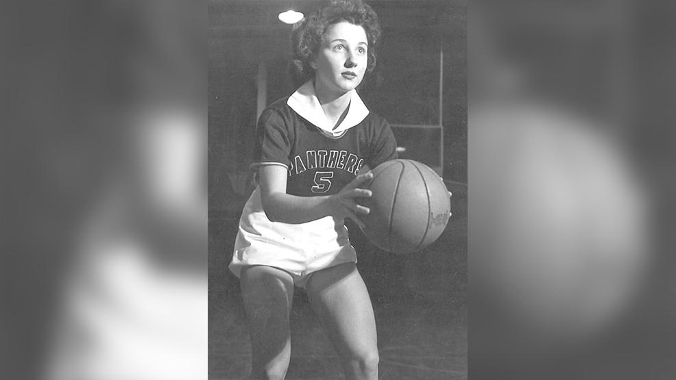 High Point's Nancy Isenhour takes aim at the basket. (Courtesy Stanly County Museum)
