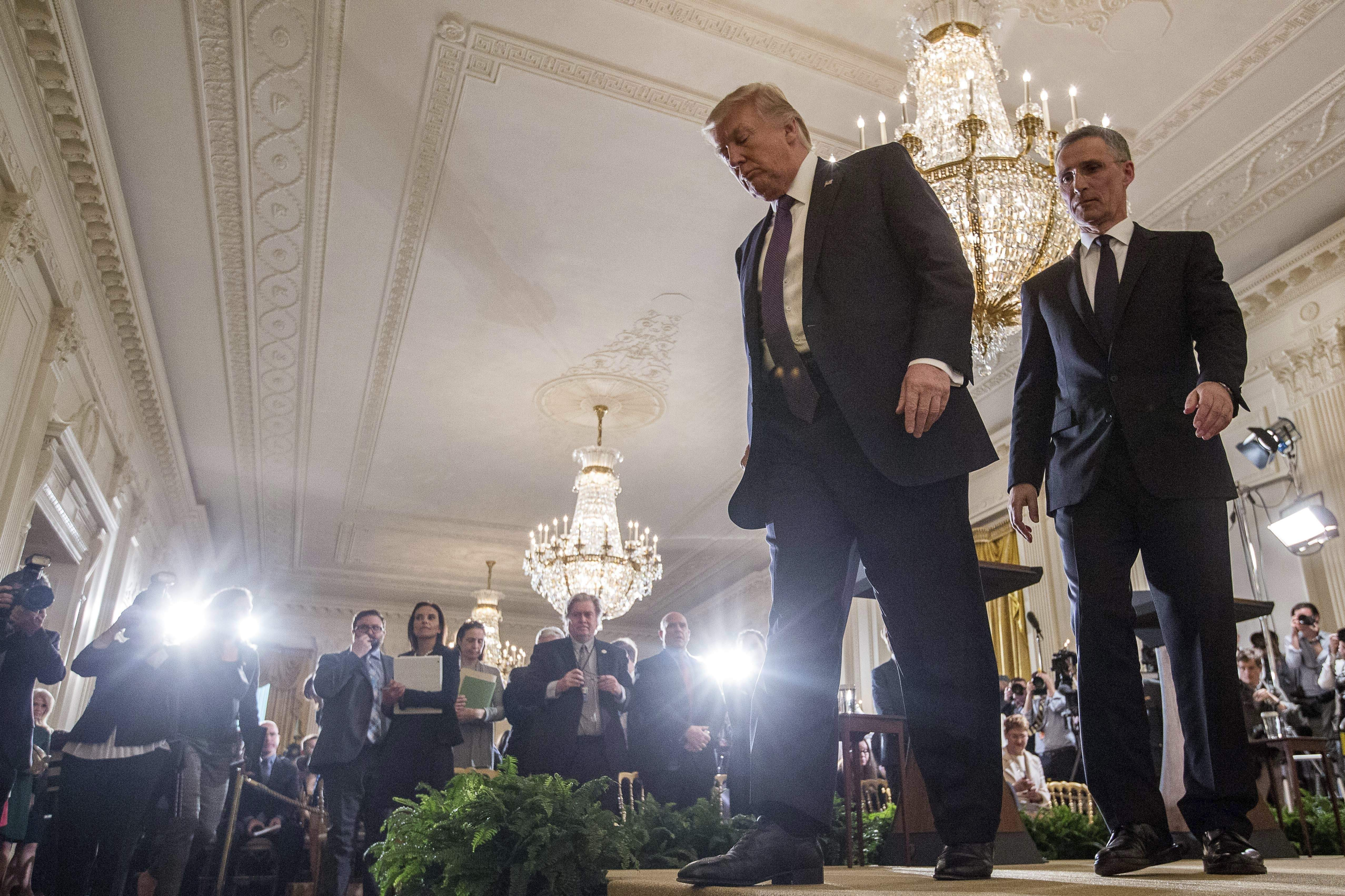 DAY 83 - in this April 12, 2017, file photo, President Donald Trump and NATO Secretary General Jens Stoltenberg depart after a news conference in the East Room of the White House in Washington. (AP Photo/Andrew Harnik, File)