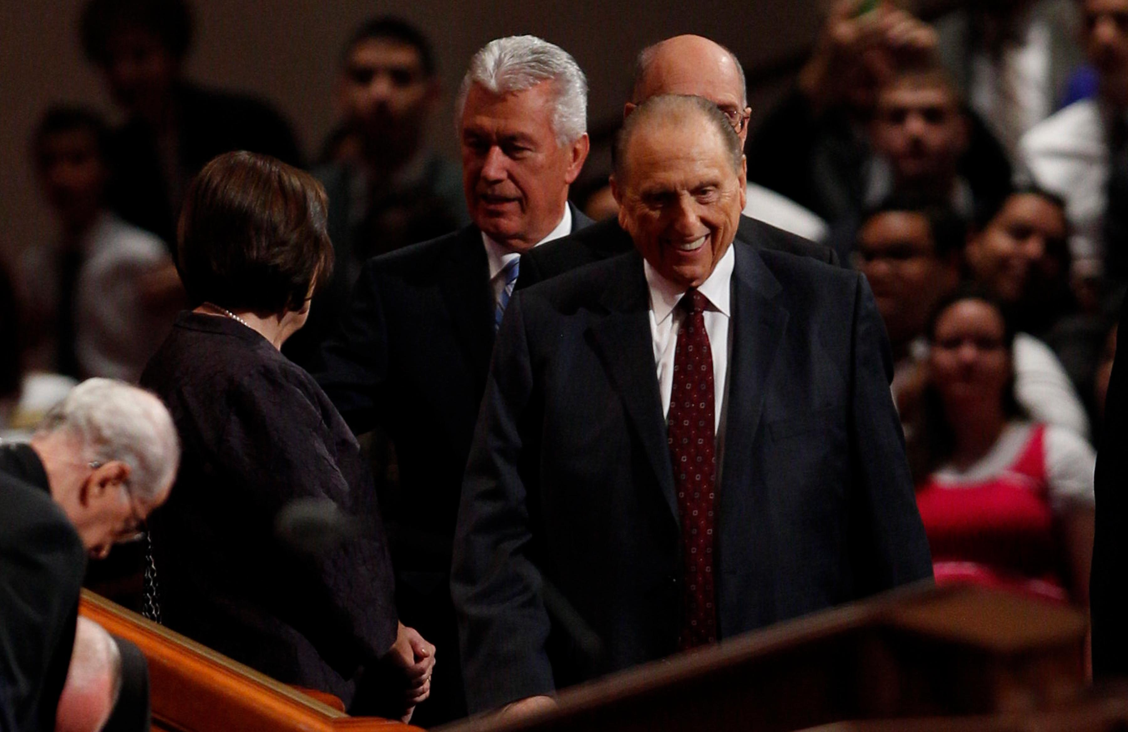 President Thomas S. Monson smiles as he enters the Conference Center prior to the start of the Saturday morning session of general conference, October 5, 2013.{&amp;nbsp;}(Photo: MormonNewsroom.org)<p></p>