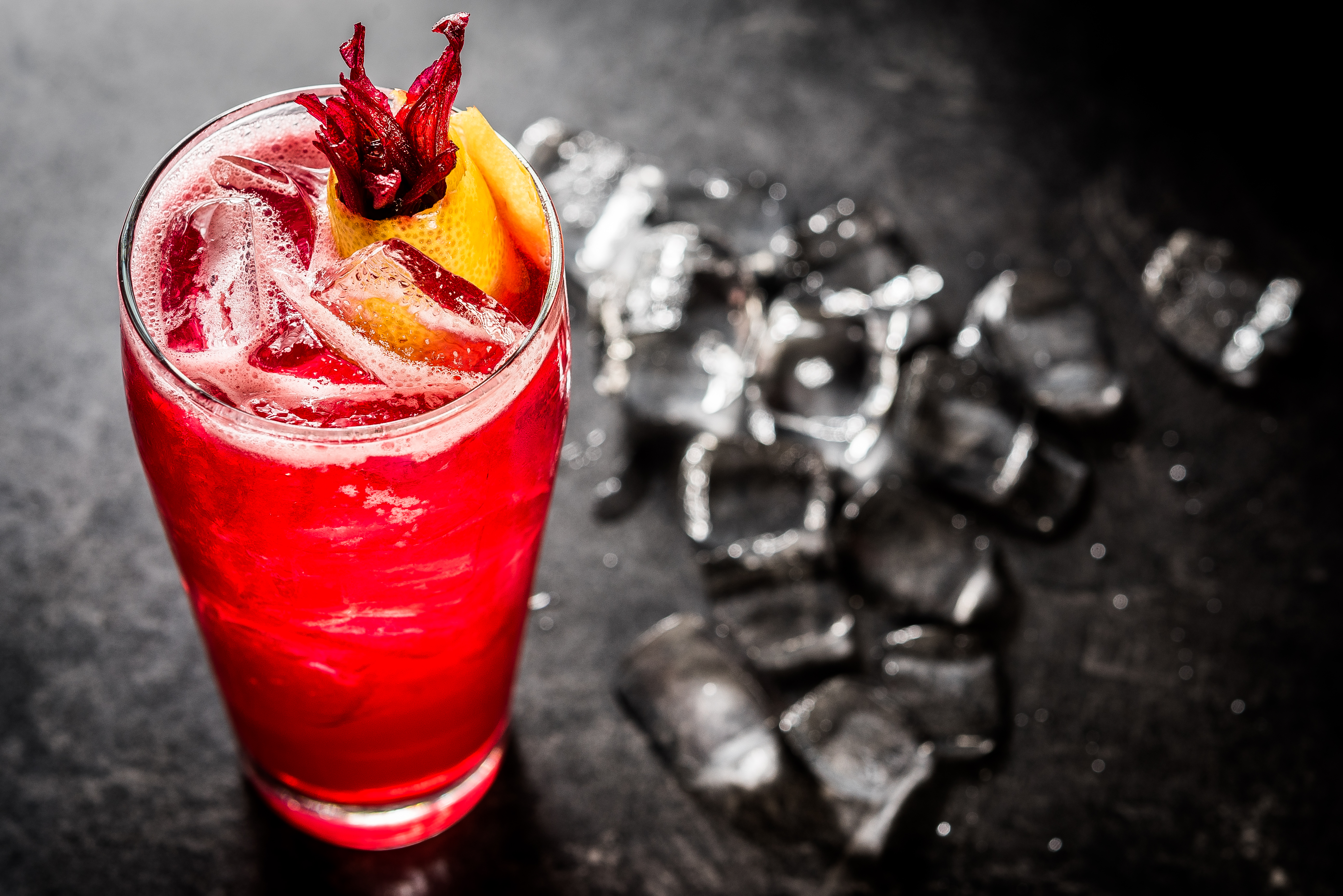 The Cielo Rojo: Citrus-infused vodka, hibiscus, ginger beer and lemon (Image: Rey Lopez)