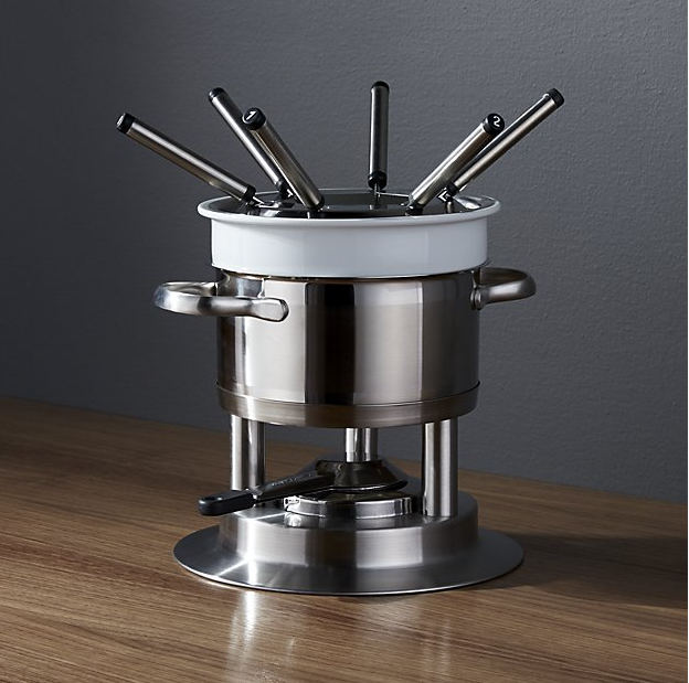 Swissmar Arosa 11-Piece Stainless Steel Fondue Set from Crate & Barrel ($89.95). Find on crateandbarrel.com. (Image: Crate & Barrel)