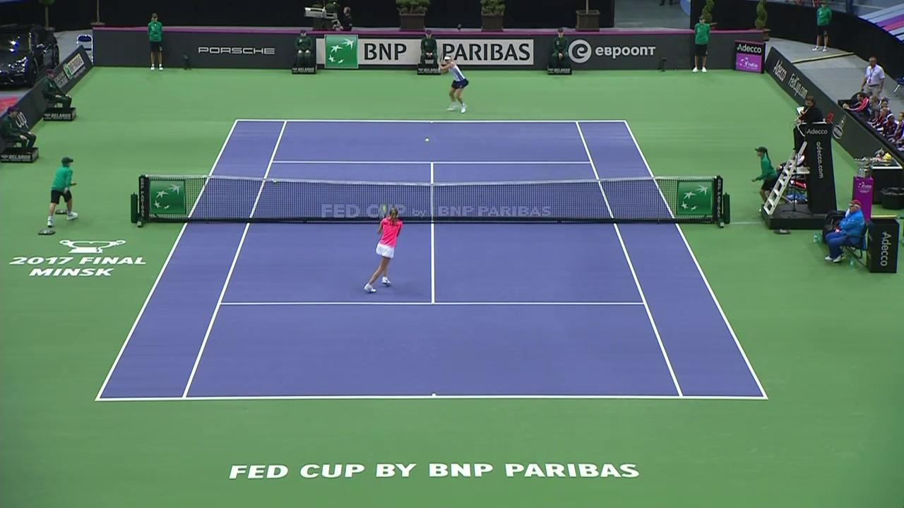 CoCo Vandeweghe (USA) v Aliaksandra Sasnovich (BLR) in the 2017 Fed Cup Final HighlightsThumbnail