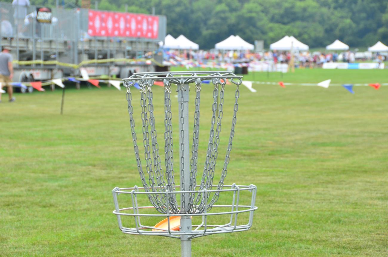 A disc golf 'hole' in the Fun Zone at WUCC / Image: Leah Zipperstein, Cincinnati Refined // Published: 7.16.18