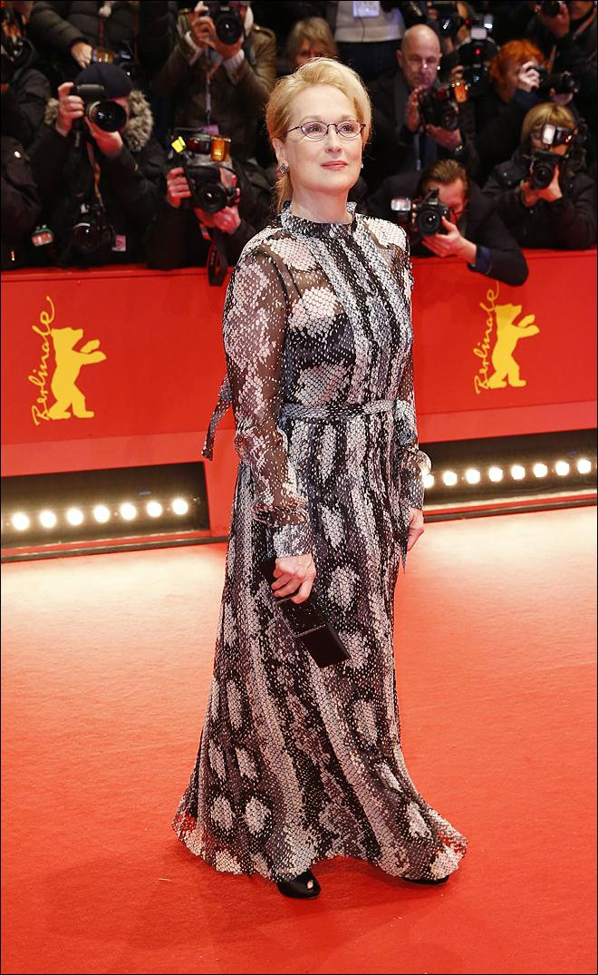 "US actress and jury member Meryl Streep arrives at the red carpet for ""Hail, Caesar!"" the opening film of the 2016 Berlinale Film Festival in Berlin, Germany, Thursday, Feb. 11, 2016. (AP Photo/Axel Schmidt)"