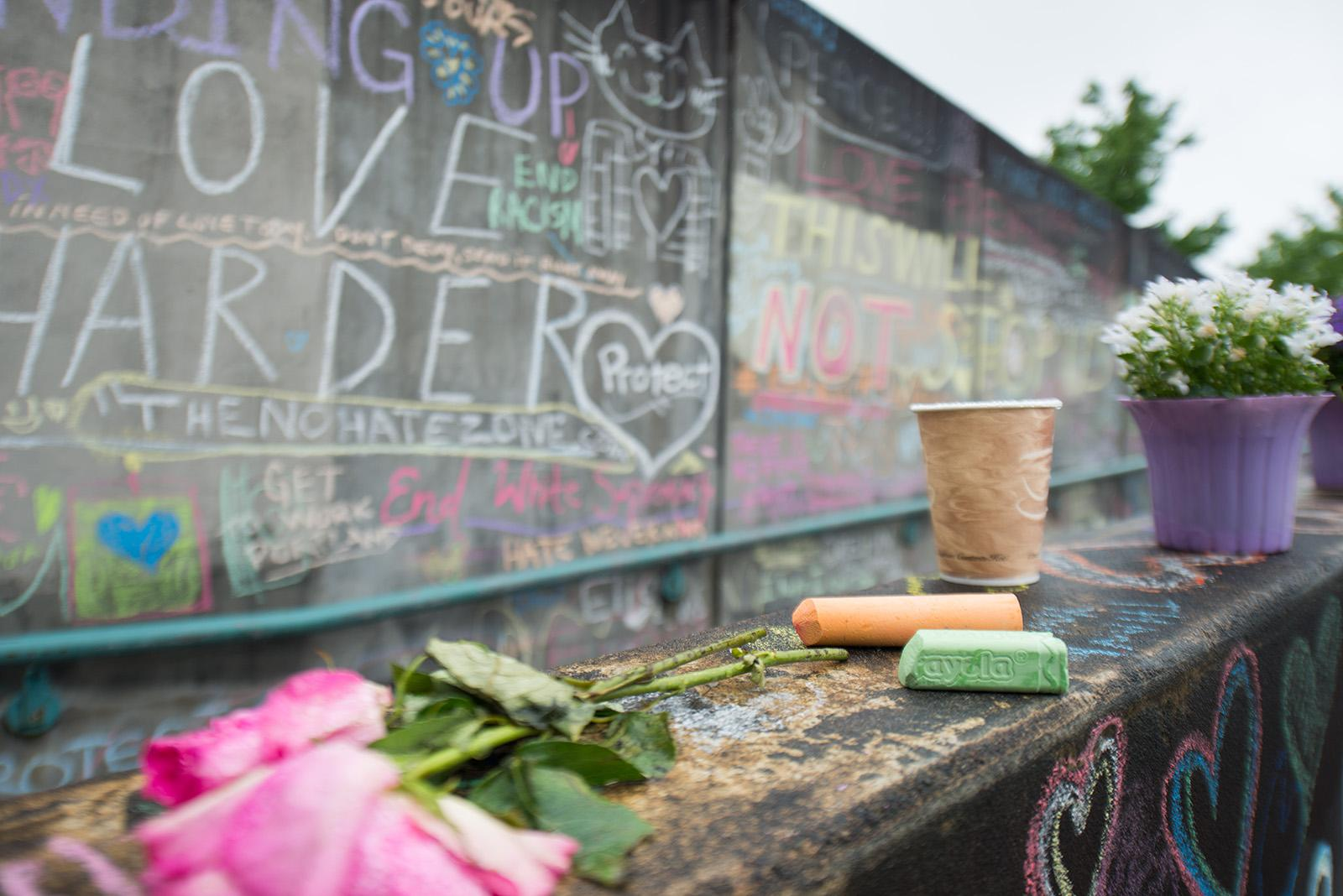 Portland has shown an outpouring of support and love for the heroic actions of the three men who were stabbed, two fatally, after they stood up for two women who were being harrassed on a MAX train near Hollywood Transit Center. (KATU photo taken 5-30-2017)